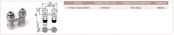 H Piece Valve (R007) - Straight