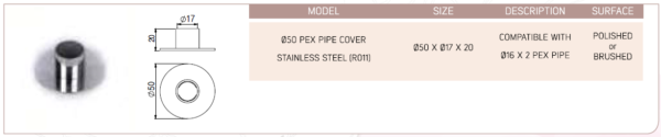 050 Pex Pipe Cover Stainless Steel (R011)