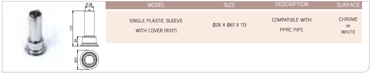 Single Plastic Sleeve With Cover (R017)
