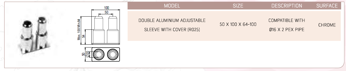 Double Aluminum Adjustable Sleeve With Cover (R025)